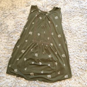 LOFT outlet olive green floral sleeveless blouse